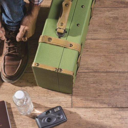 green suitcase traveler