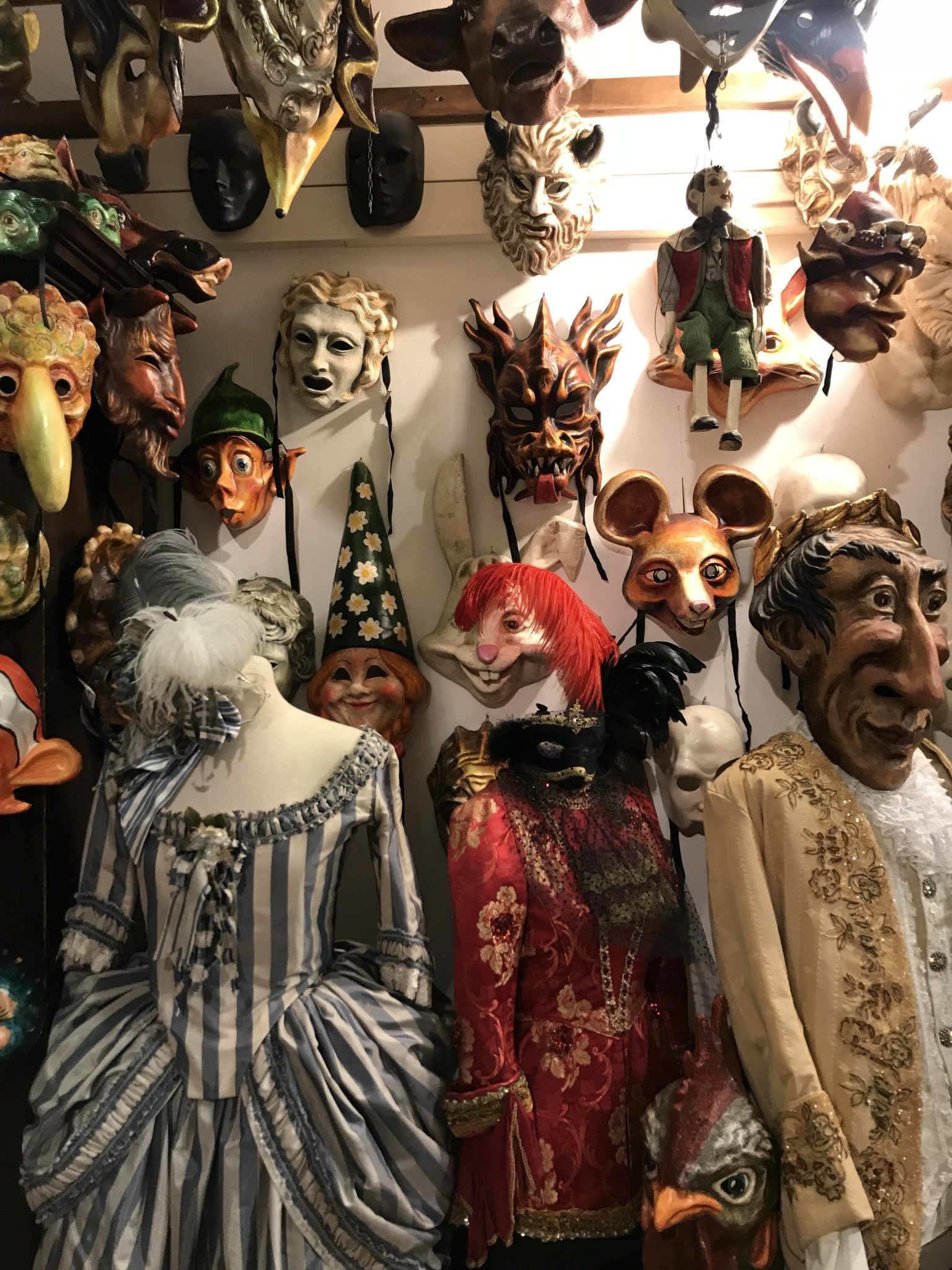 Masks and Venetian costumes at Il Cannavacio. Photo by Misty Foster.