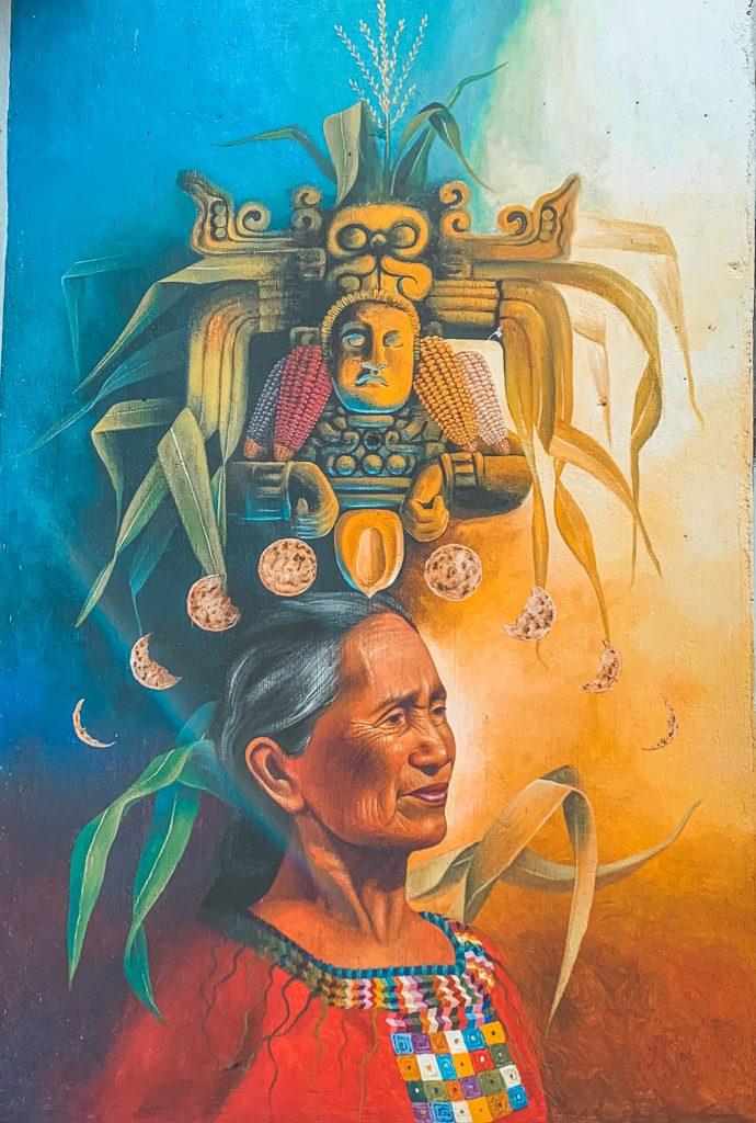 A Mayan mural in San Juan la Laguna